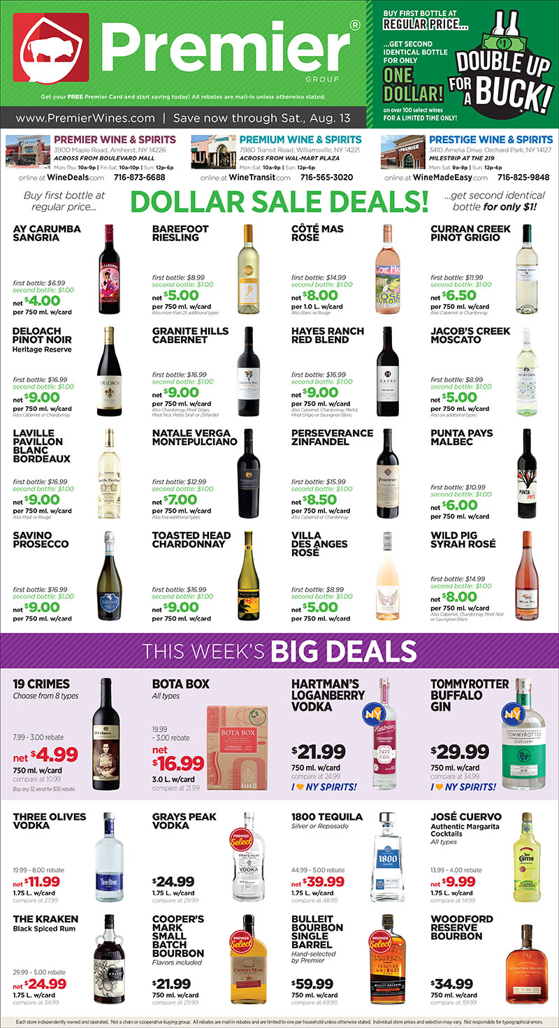 My Favorite Sale at Premier: Our lowest prices of the year on your favorite wines and spirits!